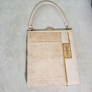 Vintage 1960s Walkwell Leather and Silk handbag